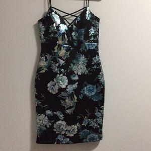 black/blue dress
